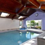 9m by 6m Indoor heated pool and jacuzzi plus folding glass doors onto patio